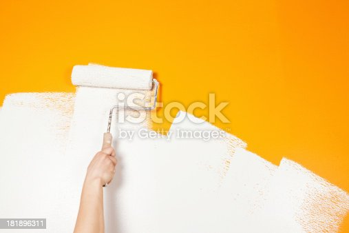 Painter Rolling White Paint Over Old Orange Wall Stock Photo & More ...
