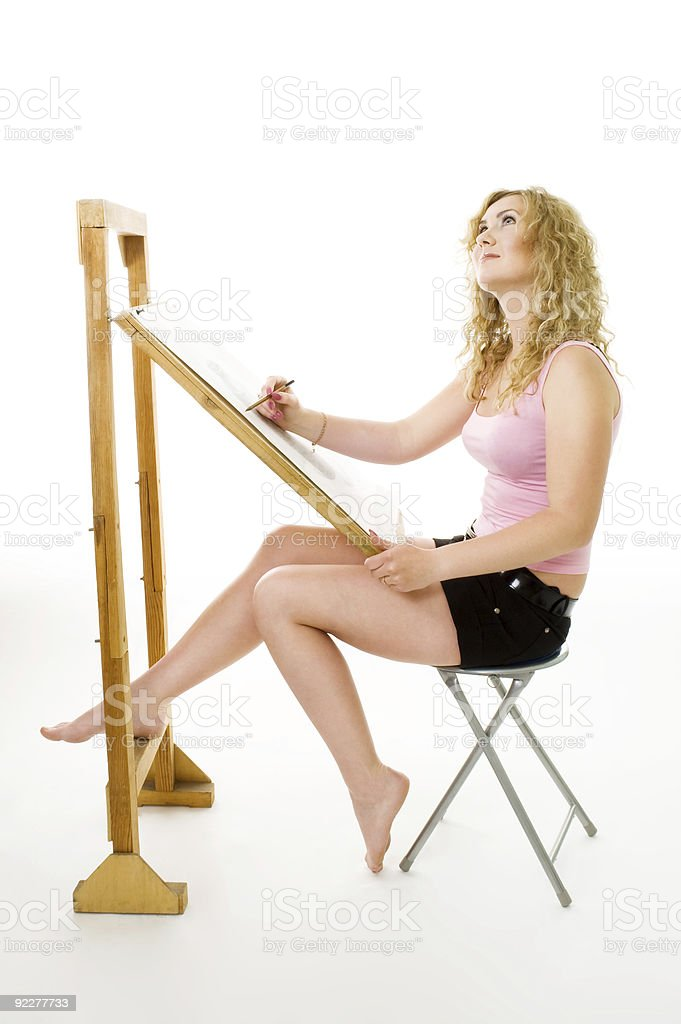 Painter waiting for inspiration royalty-free stock photo