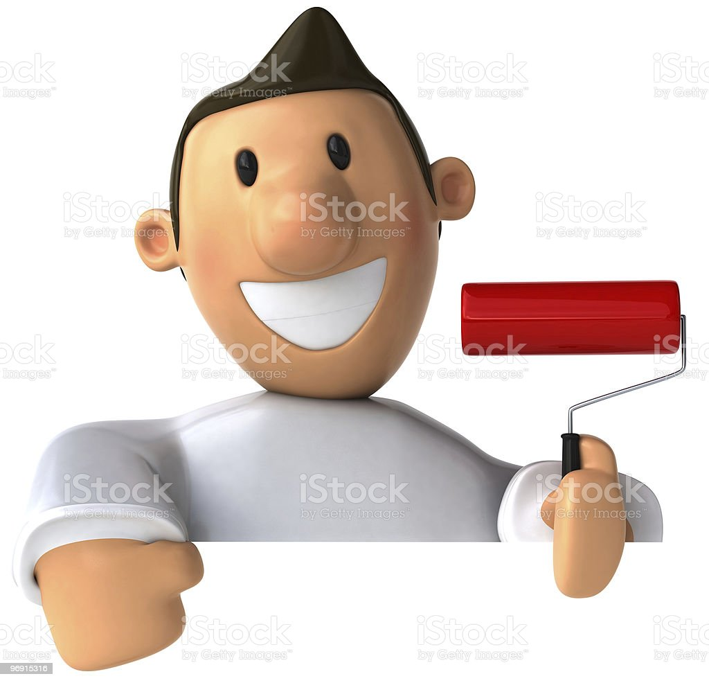 Painter with a blank sign royalty-free stock photo