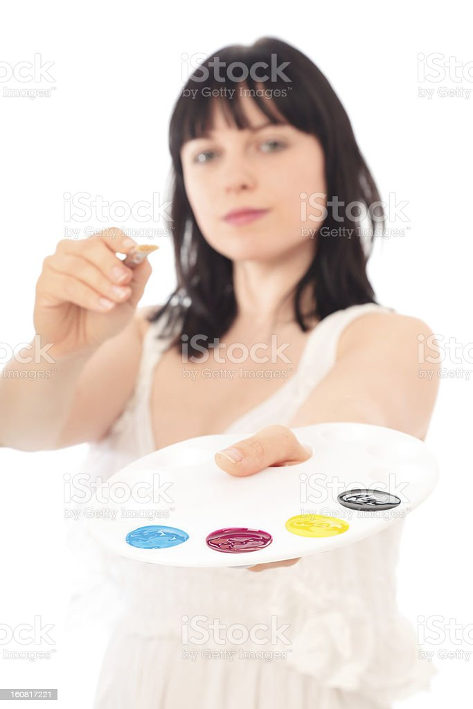 painter with CMYK palette royalty-free stock photo