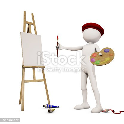 173895280 istock photo painter with white background, 3d rendering 537466572