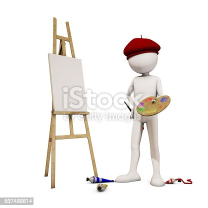 173895280 istock photo painter with white background, 3d rendering 537466614