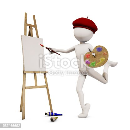 173895280 istock photo painter with white background, 3d rendering 537466652