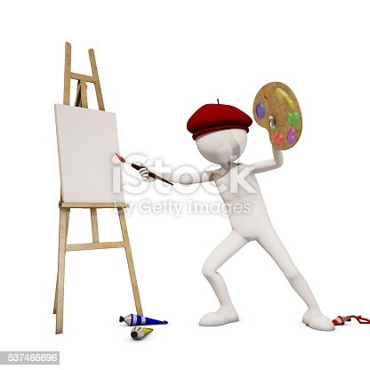 173895280 istock photo painter with white background, 3d rendering 537466696