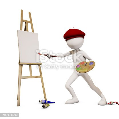 173895280 istock photo painter with white background, 3d rendering 537466742