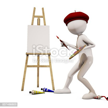 173895280 istock photo painter with white background, 3d rendering 537466800