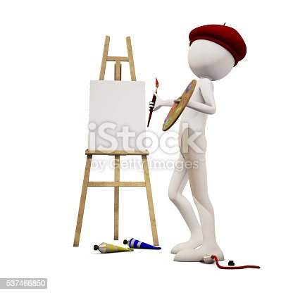 173895280 istock photo painter with white background, 3d rendering 537466850