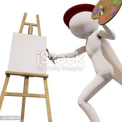 173895280 istock photo painter with white background, 3d rendering 537466916