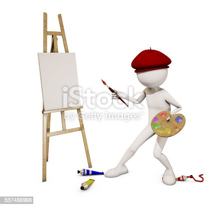 173895280 istock photo painter with white background, 3d rendering 537466966