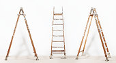 istock painter wooden ladder,isolated on white, wall painting concept 527682046