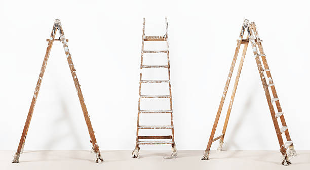 painter wooden ladder,isolated on white, wall painting concept - ladder stock photos and pictures