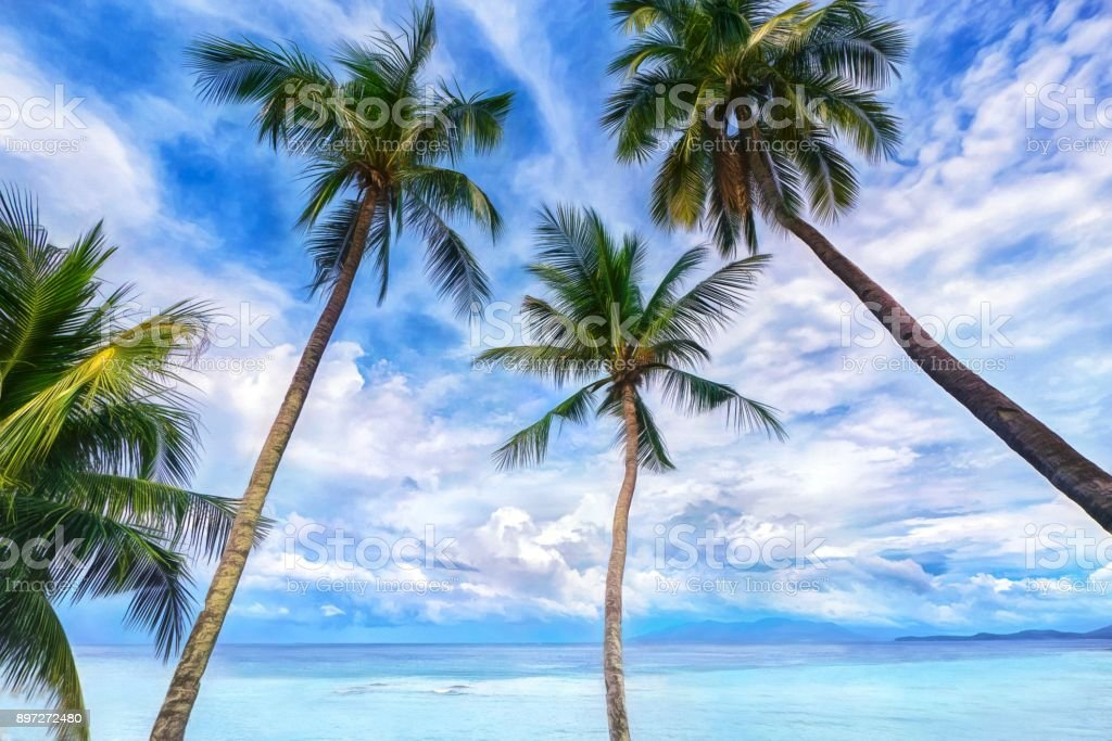 Painterly style photograph of a low angle view of four coconut palm trees on a tropical island in front of turquoise water and a big blue sky with beautiful cumulonimbus clouds. stock photo