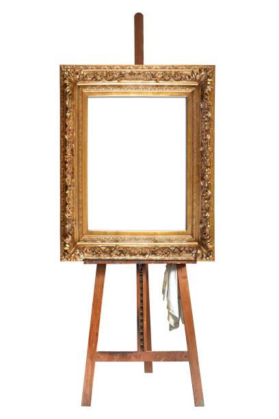 Maler Staffelei und leere Antik Goldrahmen – Foto