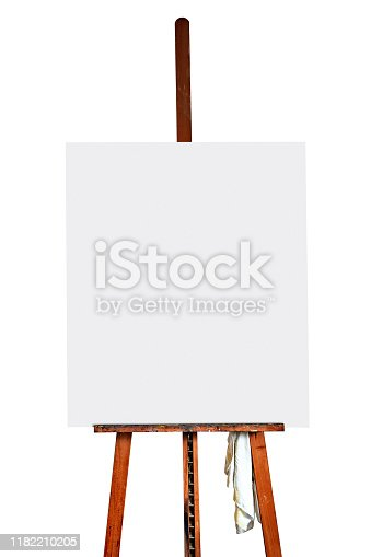 671393252 istock photo Painter's easel and empty canvas isolated on white 1182210205