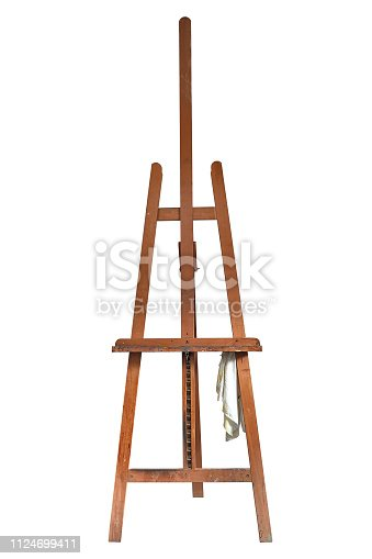 671393252 istock photo Painter's easel isolated on white with clipping path 1124699411