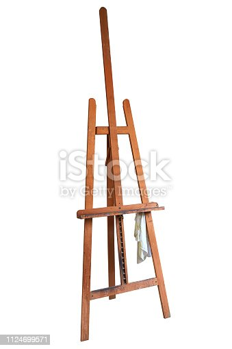671393252 istock photo Painter's easel isolated on white with clipping path 1124699571