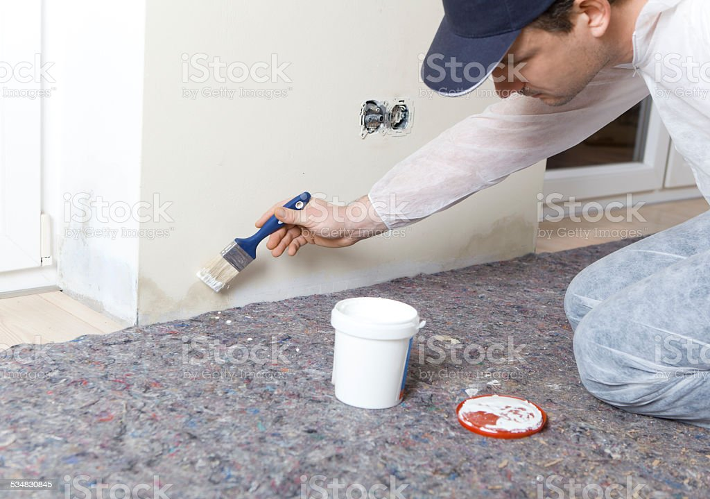 Painters edited damp walls stock photo