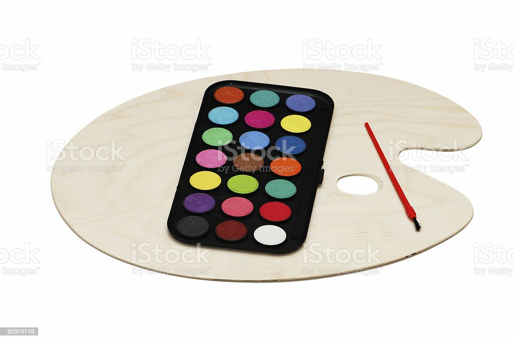 Painter's palette isolated on the white background royalty-free stock photo