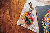 Painter's palette on table