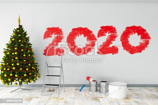 Painting 2020 on White Wall. New Year Concept