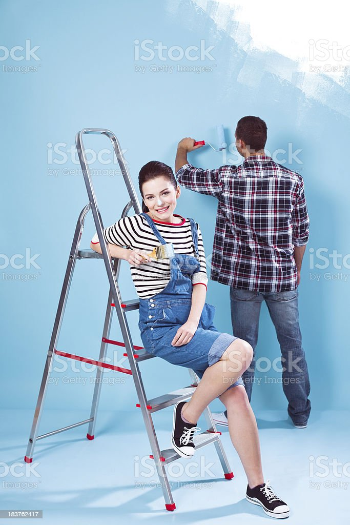 Painting a flat royalty-free stock photo