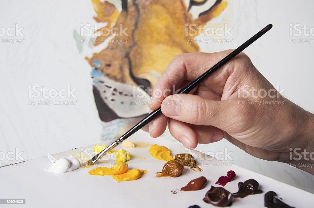 Painting a Tiger stock photo