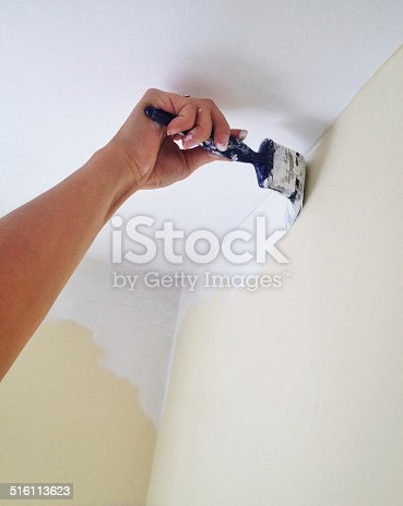 Painting a wall with paint brush