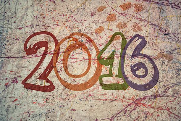 gemälde der wand mit den worten 2016 - sprüche kalender stock-fotos und bilder