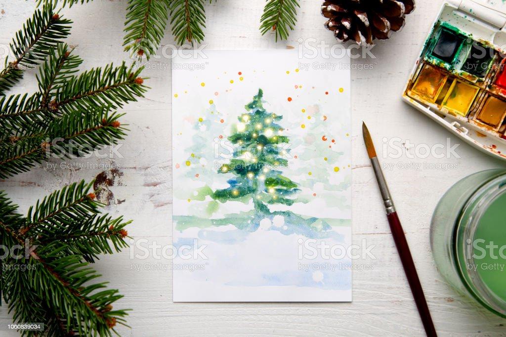 Foto De Pintura De Um Aquarela Cartao De Natal Em Casa E Mais