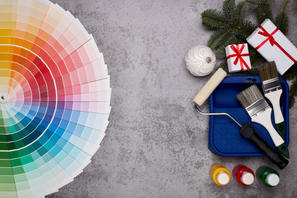 Painting accessories, colour guide and Christmas stock photo