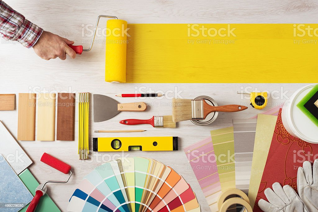 Pintura e decoração DIY banner foto de stock royalty-free