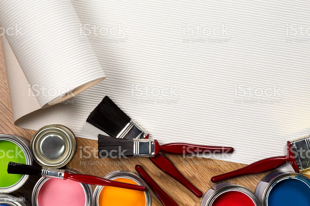 Painting and Decorating - Space for Text stock photo
