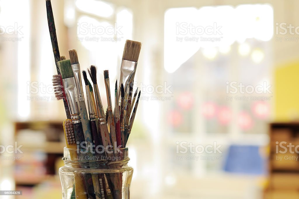 Painting Art Brushes in the Jar royalty-free stock photo