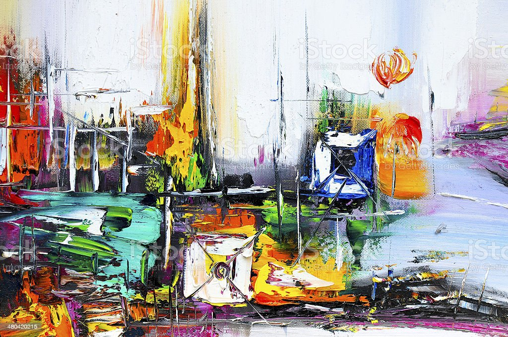 Painting background - Large scale Abstract oil Painting On Canvas stock photo