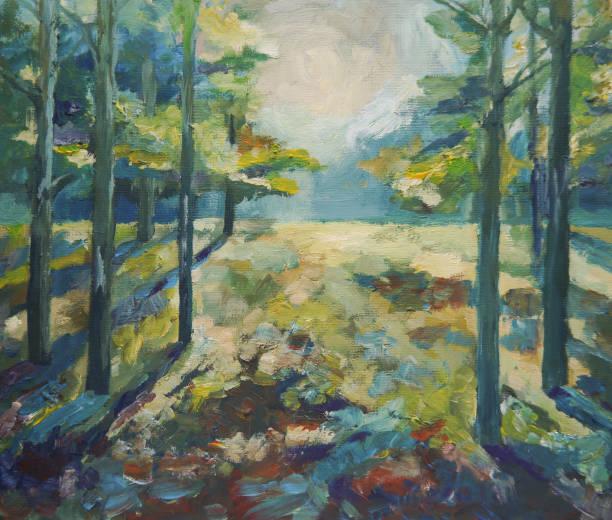 malen schöne sommer wald - waldmalerei stock-fotos und bilder