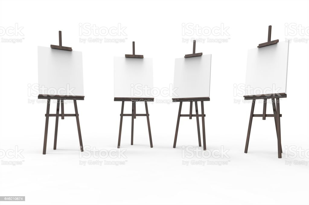 Painting board Easel with and poster signboard isolated stock photo