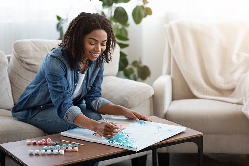 Painting By Numbers. Happy African American Woman Drawing Canvas Picture At Home, Having Art Therapy, Enjoying Spending Time On Quarantine, Copy Space