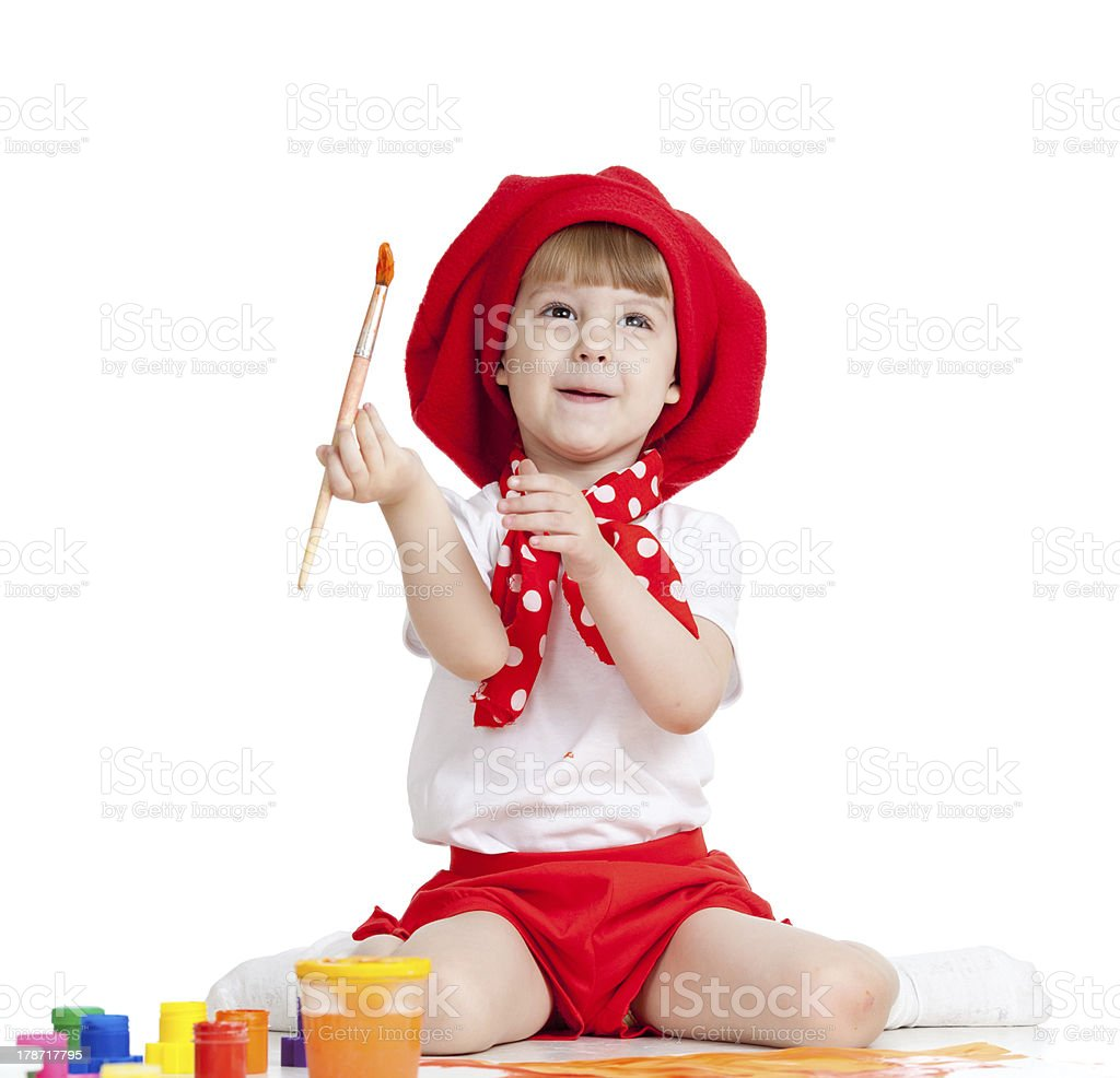 painting child girl isolated on white royalty-free stock photo