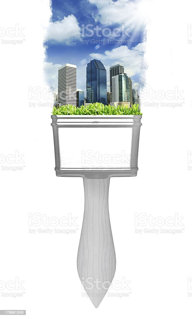 painting city landscape with brushes royalty-free stock photo