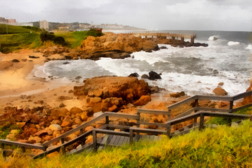 Painting Coastal Town Wooden Steps and Concrete Jetty in Storm