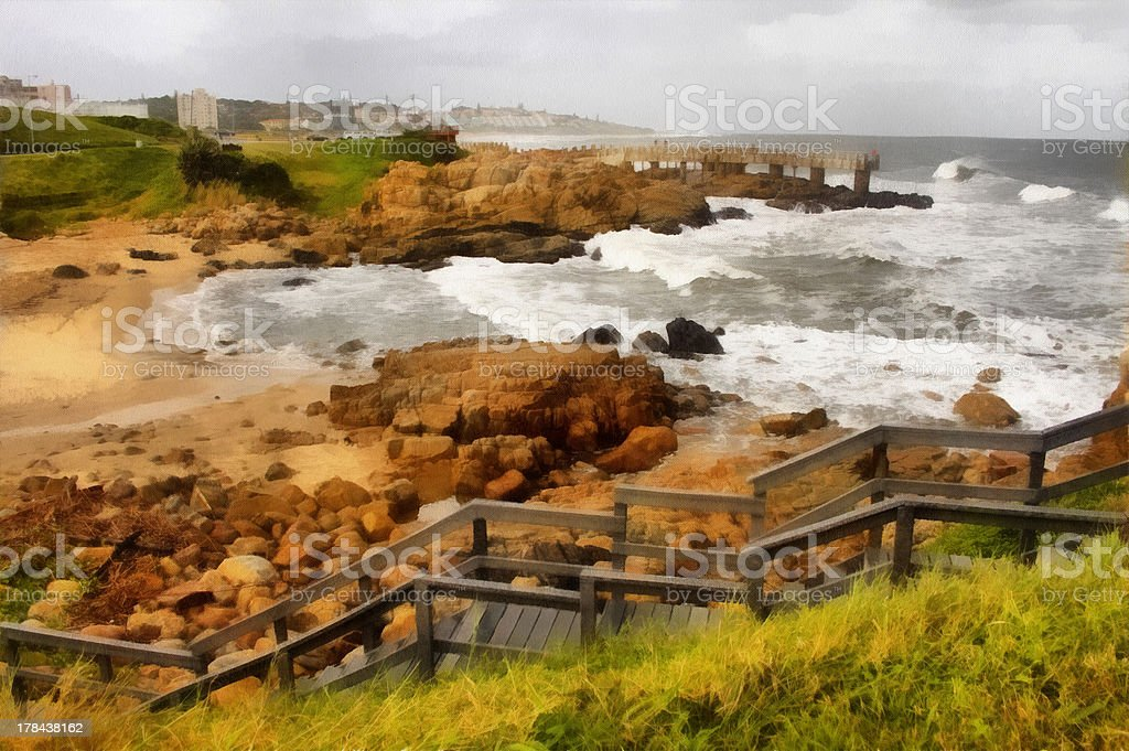 Painting Coastal Town Wooden Steps and Concrete Jetty in Storm stock photo