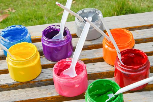 Colors of a child's paint set.