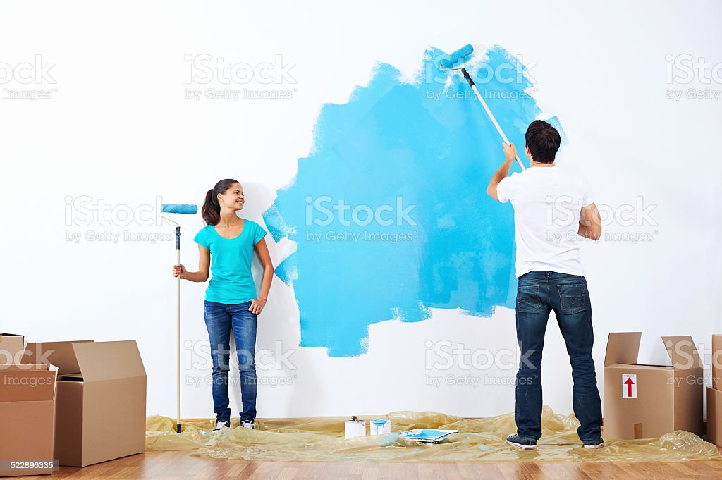 painting couple stock photo
