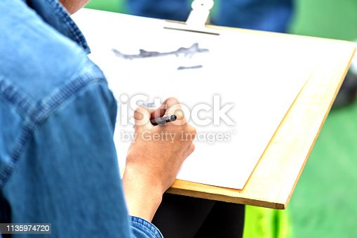 628812970 istock photo painting courses. student drawing at the park 1135974720