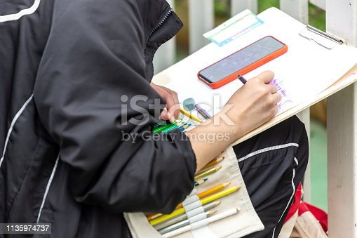 628812970 istock photo painting courses. student drawing at the park 1135974737