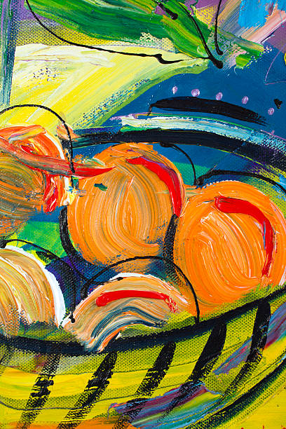 painting detail - impressionist painting stock photos and pictures