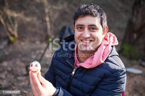 istock Painting eggs for easter at outside 1133635052
