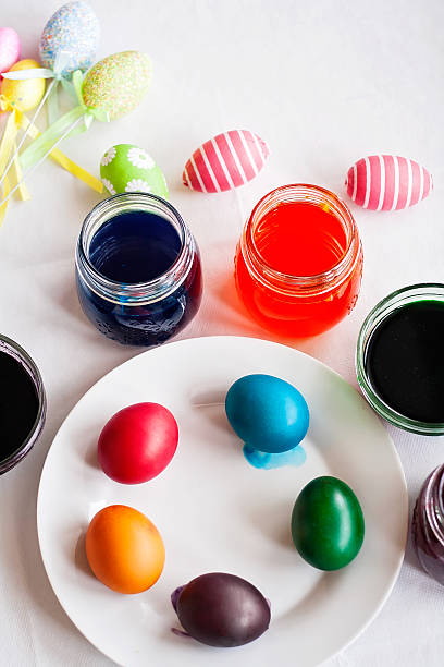 Painting eggs for Easter stock photo
