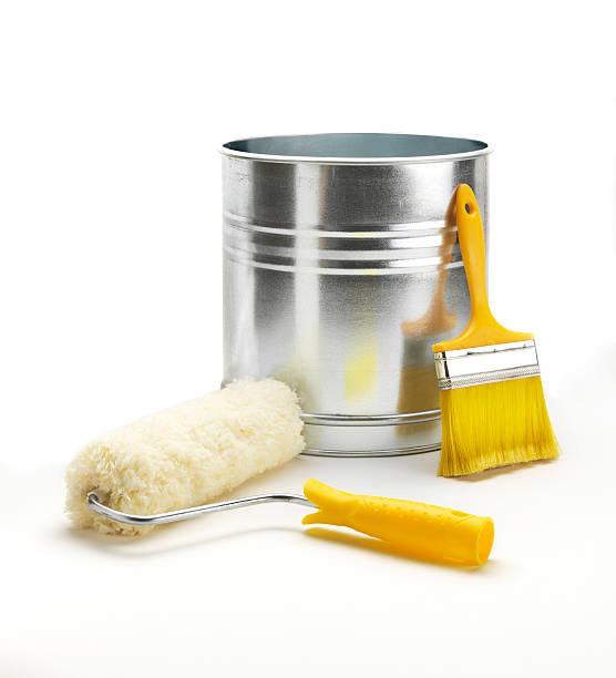 gemälde ausstattung (klicken sie hier, um weitere informationen) - kunststoff behälter bemalen streichen stock-fotos und bilder