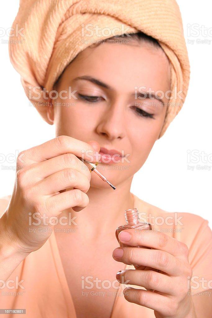 Painting fingernails royalty-free stock photo